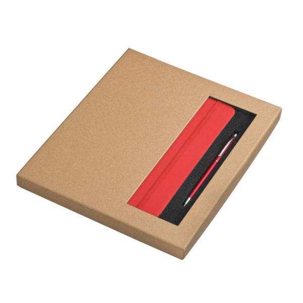 Zestaw w pudełku czerwony notes A5 i długopis