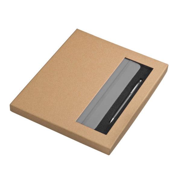 Zestaw w pudełku szary notes A5 i długopis