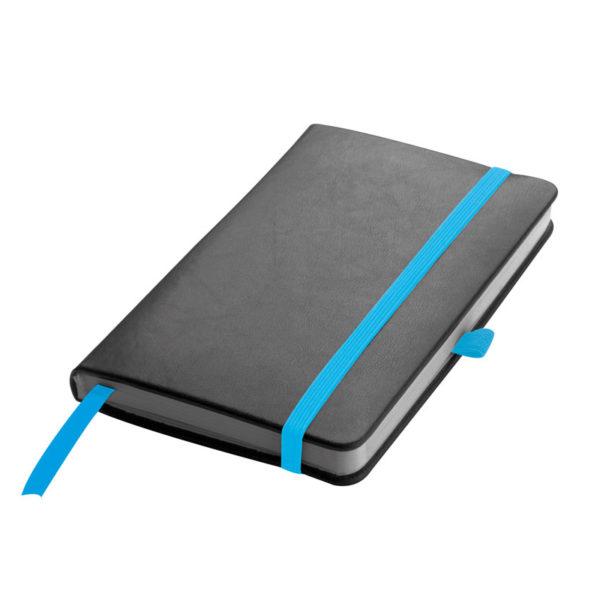 Notes A6 czarny z niebieskim akcentami