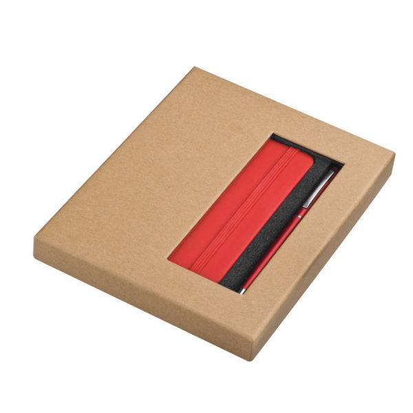 Zestaw notatnik A6 i długopis - czerwony