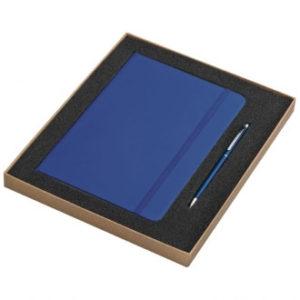 Zestaw w pudełku – notatnik A5 i długopis – niebieski
