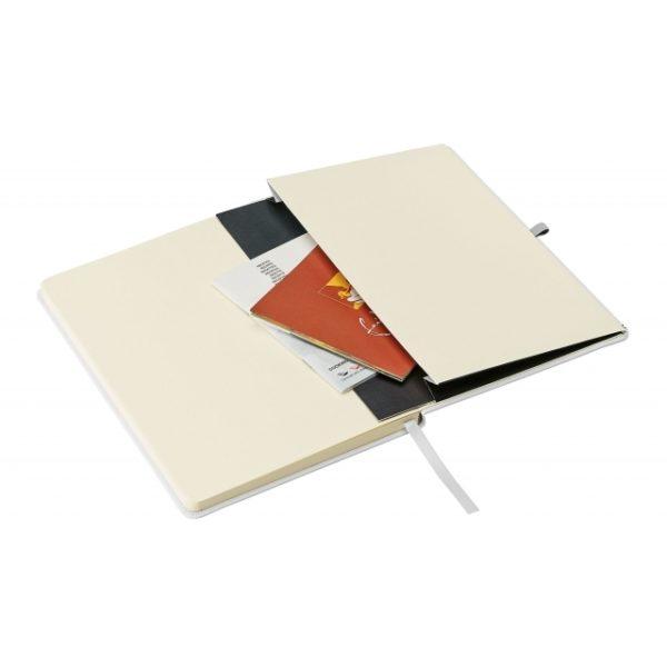 Biały notes A5 z kieszenią i gumką
