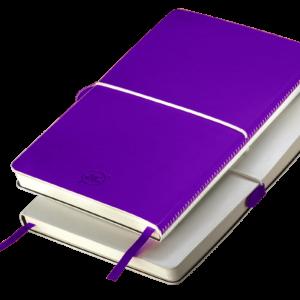Notes A5 z gumką biało - fioletowy