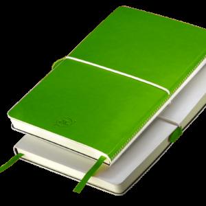 Notes A5 z gumką biało - zielony
