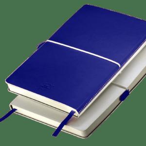 Notes A5 z gumką biało - niebieski
