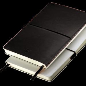 Notes A5 z gumką biało - czarny